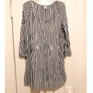 Long Sleeves Stripped Dress, Size S